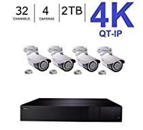 Q-See 4K (8MP) QT-IP Kit Four Camera with NVR IP Ultra-HD 32-Channel with 2TB HDD with H.265 (QT816-2 + 4x QTN8086B)