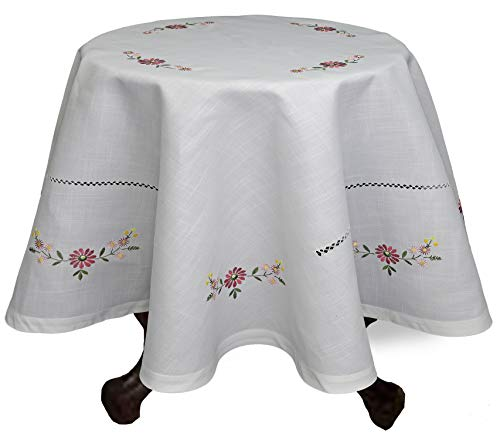 Creative Linens Hemstitch Embroidered Daisy Flower Tablecloth 86