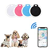 4 Pack Smart Key Finder Locator, GPS Tracking Device for Kids Pets Keychain Wallet Luggage Anti-Lost Tag Alarm Reminder Selfie Shutter APP Control Compatible iOS Android (Color: Smart Key Finder Locator white&black)