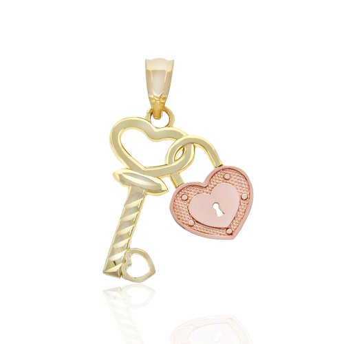 10k Gold Key - Charm America - Gold Lock and Key Heart Charm - 10 Karat Solid Gold