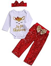 441015504694 3Pcs Christmas Toddler Baby Boys Girls 3-24 Months Cartoon Deer Romper+Pants +