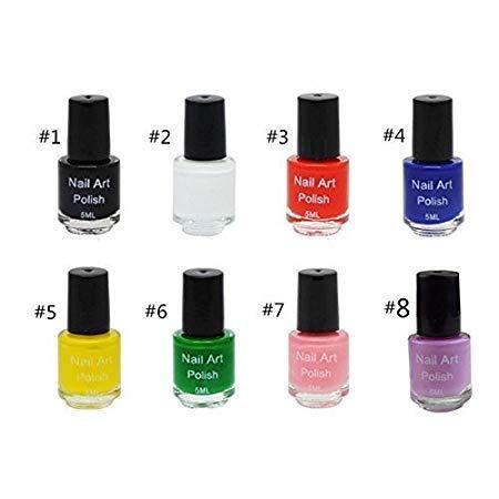 [해외]8 색 세트 스탬핑 전용 매니큐어 스탬프 폴란드어 네일 스탬프 플레이트 스탬프 네일 아트 / 8 Color Set Stamping Exclusive Nail Polish Nail Stamp Plate Stamp Nail Art