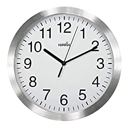 HIPPIH 10 Inch Silent Wall Clock Non-Ticking Indoor Decorative Metal Clocks for Office/Kitchen/Bedroom/Living Room