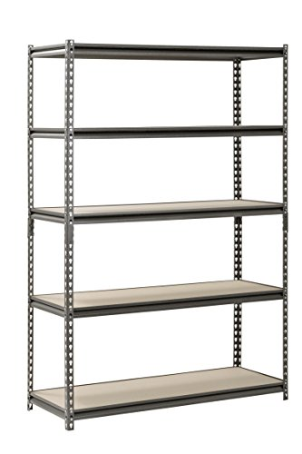 "Muscle Rack UR481872PB5P-SV Silver Vein Steel Storage Rack, 5 Adjustable Shelves, 4000 lb. Capacity, 72"" Height x 48"" Width x 18"" Depth"