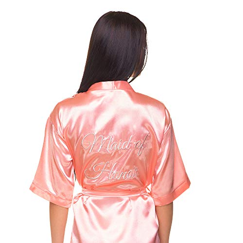 Satin Bridal, Bridesmaid, Maid of Honor Robe with Real Embroidery (Blush Pink - Maid of Honor in Silver, L-XL)]()