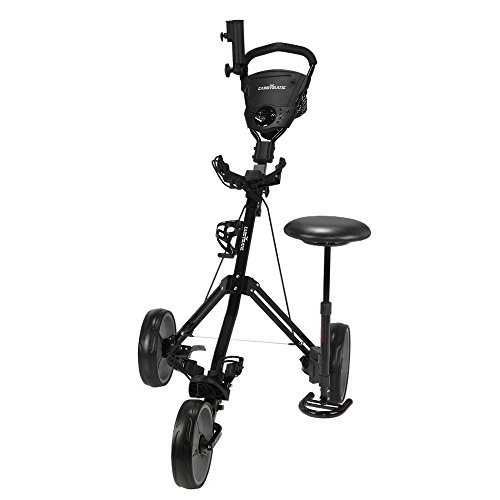 Caddymatic Golf X-TREME 3 Wheel Push/Pull Golf Cart with Seat Black by Caddymatic (Image #1)