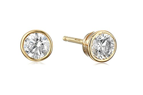 14k Yellow Gold Bezel Set Diamond with Friction Post and Back Stud Earrings (1/3cttw, K-L Color, I2-I3 Clarity)