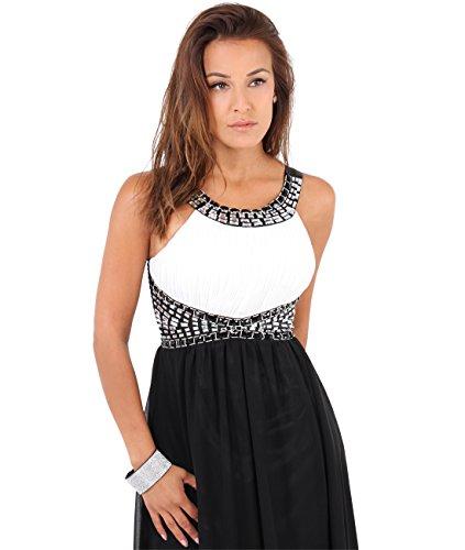 Weiß Bodenlange KRISP Schwarz 5274 Abendkleider Elegante Damen 4wwqIp
