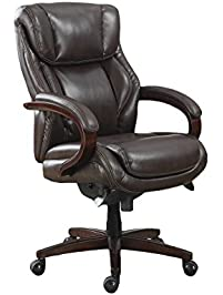 lazboy bellamy executive bonded leather office chair coffee brown