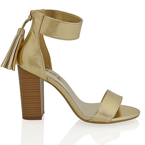 ESSEX GLAM Womens Block Heel Peep Toe Ladies Faux Suede Ankle Strap Tassle Zip Sandal Shoes Gold Metallic 9m7aEi