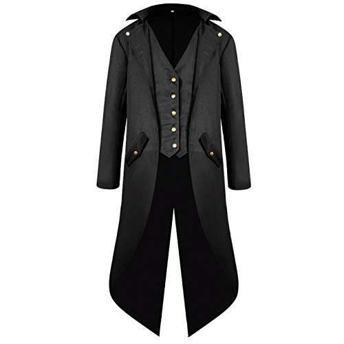 - ULUIKY Mens Gothic Tailcoat Steampunk Jacket Victorian Costume Tuxedo Uniform Halloween Costume (M, Black)