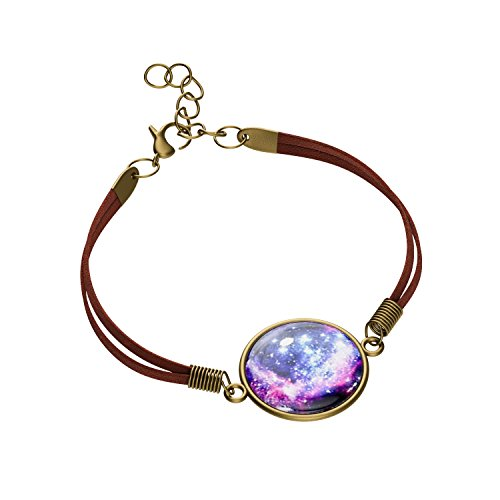 Luvalti Galaxy & Cosmic Purple Pendant Bracelet, Blue Glass, 8'' Suede Rope, Great Gift for - Bracelet Long 8'
