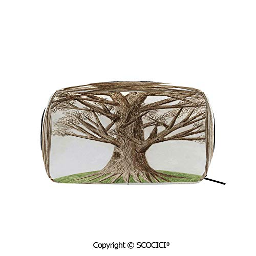 Printed Makeup Bag Organizer toiletry bags Artsy Hand Drawn Pastoral Single OldTree with Growing Branches on the Grass Decor Rectangle Cosmetic Bags for Girls Ladies
