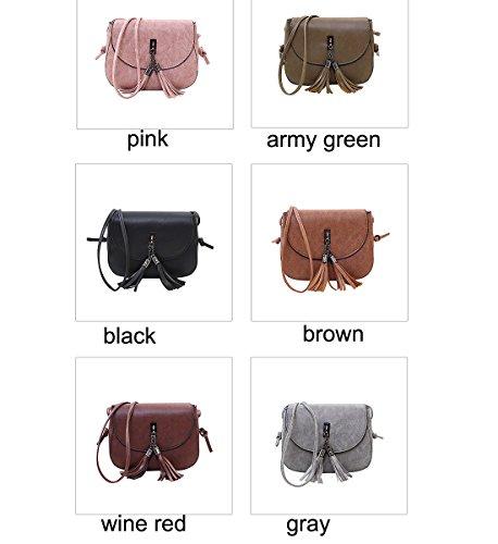 Purse women's Handbag Accents Degohome bag Zipper with Multi Tassel Crossbody shoulder Pink 0d66Zqw