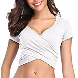 Crop Tops for Women BXzhiri Deep V Neck Short Sleeve Unique Slim Fit Coss Wrap Shirts White