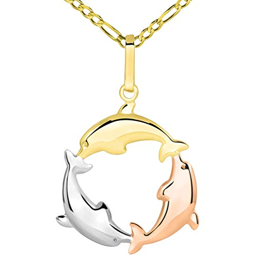 14k Tri Color Gold 3D Three Dolphins Jumping Around Circle Pendant Figaro Necklace, 18
