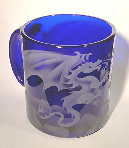 - IncisoArt Hand Etched Coffee Mug Sandblasted (Sand Carved) Glass Handmade Engraved (1, Cobalt Blue Mystical Dragon)