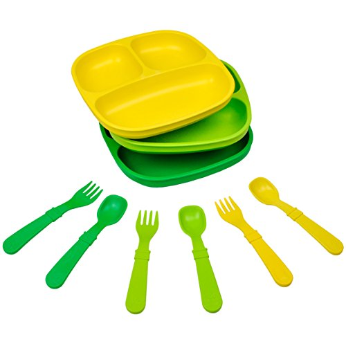 Re-Play Made in The USA Dinnerware Set - 3pk Divided Plates with Matching Utensils Set (Stem)