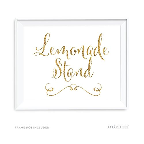 Andaz Press Wedding Party Signs, Gold Glitter Print, 8.5x11-inch, Lemonade Stand Reception Dessert Table Sign, 1-Pack, Not Real Glitter]()