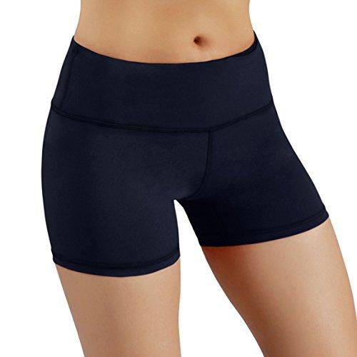 ODODOS Power Flex Yoga Short Tummy Control Workout Running Athletic Non See-Through Yoga Shorts with Hidden Pocket,Navy,Small