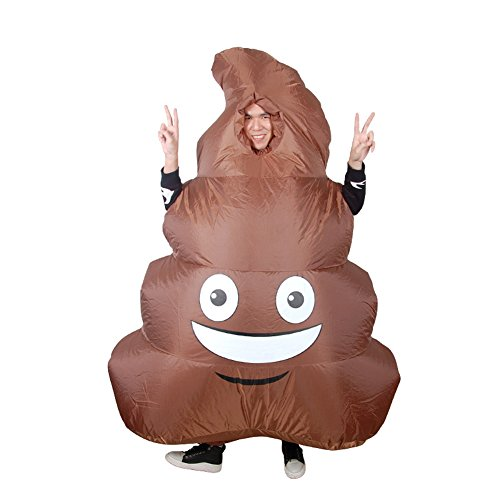 Adult Kids Inflatable Emoji Giant Poop Costume Halloween Coplay Fancy Dress -