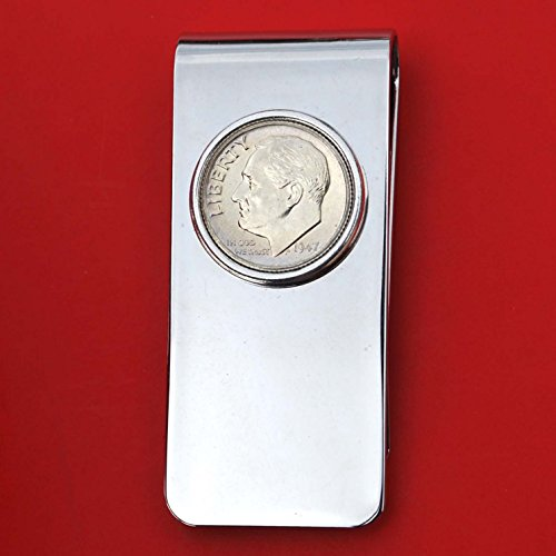 (US 1947 Roosevelt Dime 90% Silver Coin Solid Brass Money Clip New - High Quality)