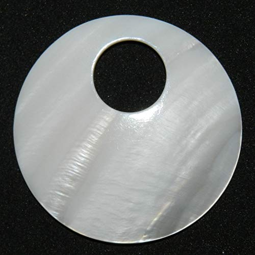 Bead Jewelry Making White Mother of Pearl Shell 50mm Round Go-Go Donut Pendant Bead ()