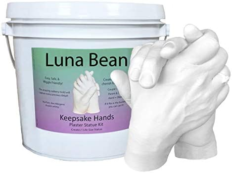 Luna Bean Keepsake Hands Casting Kit | DIY Plaster Statue Molding Kit | Hand Holding Craft for Couples, Adult & Child, Wedding, Friends, Anniversary