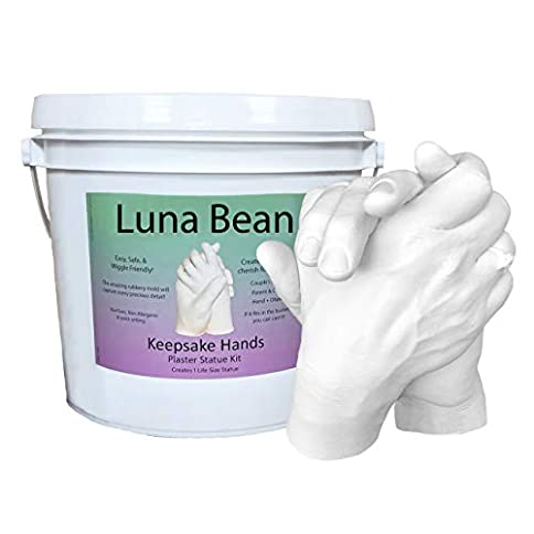 - 41vOPX9qcGL - Luna Bean LARGE KEEPSAKE HANDS CASTING KIT | DIY Plaster Statue Molding Kit for COUPLES, Adult & Child, Wedding, Anniversary | 50% More Mold Making Materials and Larger Bucket