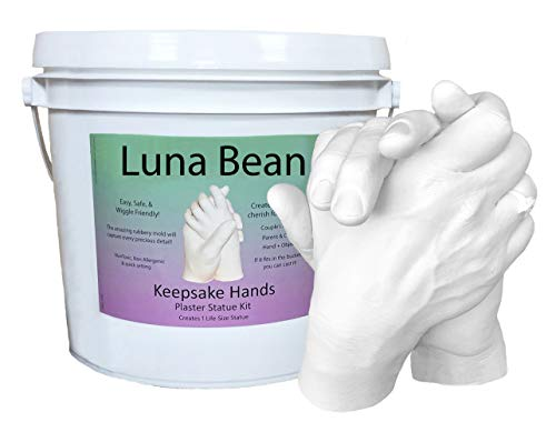 (Luna Bean LARGE KEEPSAKE HANDS CASTING KIT | DIY Plaster Statue Molding Kit for COUPLES, Adult & Child, Wedding, Anniversary | 50% More Mold Making Materials and Larger Bucket)