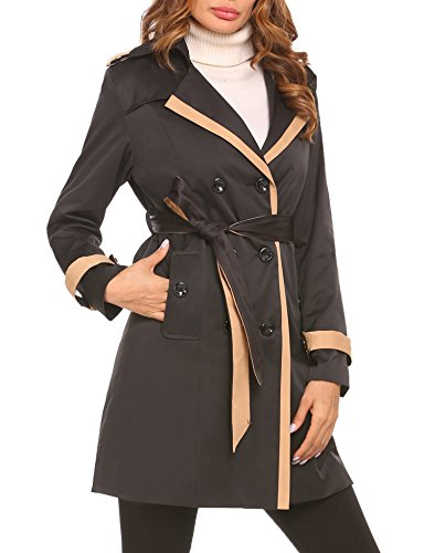 EASTHER Winter Coat Long Jacket Women Casual Lightweight Double Breasted Trench Coat with Belt Outdoors Work Pocket (Black, L)