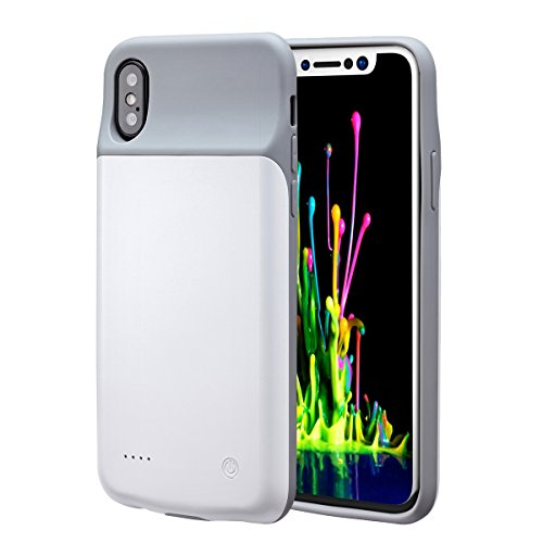 Price comparison product image iPhone X (10) Battery Case, Rechargeable Battery Charging Case for iPhone X, Ultra Slim Protective Case Power Pack [Compatible with Apple Lightning EarPods and Apple Pay] (White color)