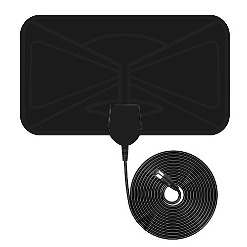 TV Aerial, Indoor Freeview TV Aerial, VicTsing 0.5mm Ultra-Thin Indoor Amplified Digital TV Aerial HDTV Antenna, 10 FT Long Cable and Optimized Butterfly-Shaped Picture for Stronger Reception for Digital and Analog TV Signals, Window Aerial