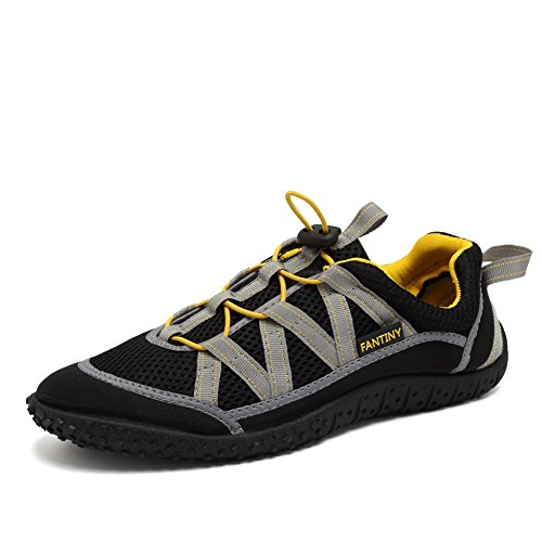 CIOR Fantiny Men and Women Aqua Shoes Quick Drying Water Sports Shoes for Beach Pool Boating Swim Surf Exercise,SANS01,Ye.Black,41