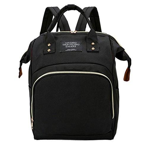Women Backpack Purse Waterproof Nylon Anti-theft Rucksack Lightweight School Shoulder Bag for Girl Boy Kids (Black) by Goodtrade8-Handbags-Wallets