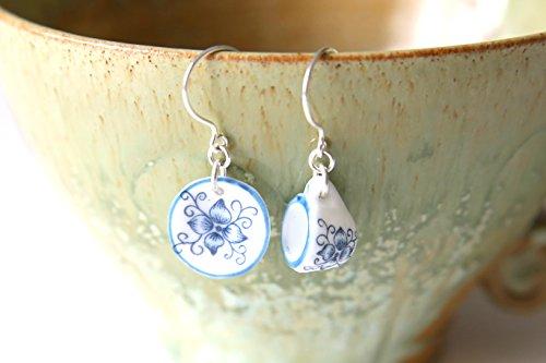 (Winter Tea For One Earrings - Blue Flower Tea Cup Dollhouse Miniature Dangle Earrings, Sterling Silver Porcelain Jewellery Handmade by Ikuri immortelle, FREE SHIPPING)