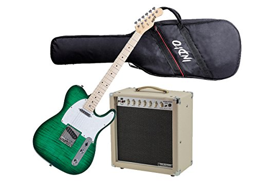 Monoprice Guitar Starter Kit - Includes 15Watt Tube Amplifier with Celestion Speaker & Spring + Indio Retro DLX Flamed Top Electric Guitar With Gig Bag - Trans Green (15w Retro Guitar)