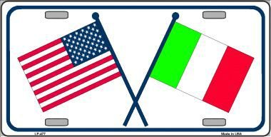 United States/Italy Crossed Flags Vanity Metal Novelty License Plate Tag Sign by Smart Blonde