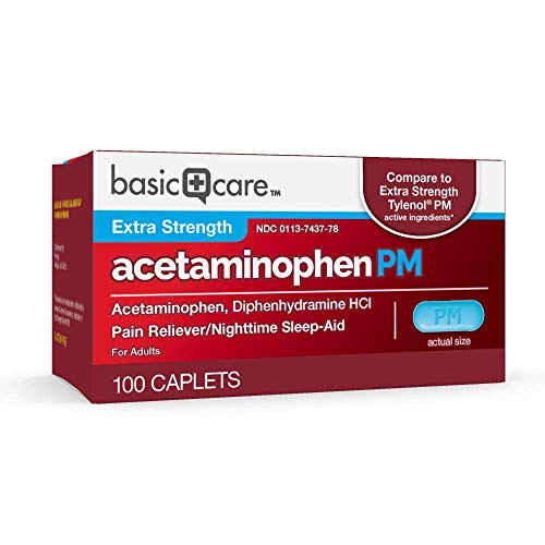 Basic Care Extra Strength Acetaminophen PM Caplets, 100 Count by Basic Care (Image #2)