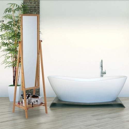 Relaxdays Miroir sur pied en bambou avec plateau de rangement Naturel 160 x 40 x 36 cm