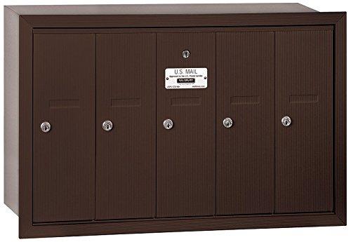 Salsbury Industries 3505ZRP Vertical Mailbox - 5 Doors - Bronze - Recessed Mounted - Private Access   B005F637XG