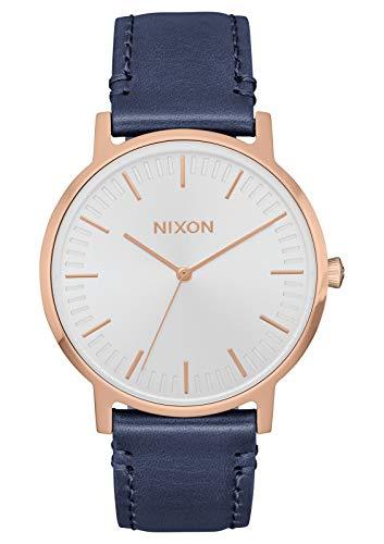 (Nixon Porter Leather Rose Gold/White/Navy Modern Men's Watch (40mm. White & Rose Gold Face/Navy Leather Band))