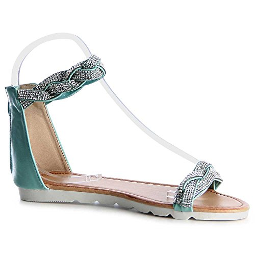 topschuhe24 - Sandalias de vestir para mujer verde menta