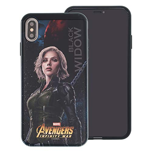 iPhone XR Case Marvel Avengers Infinity War Layered Hybrid [TPU + PC] Shock Absorption Bumper Cover for [ iPhone XR ] Case - Black Widow