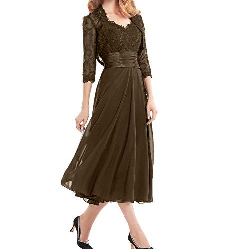 Damen Brautmutterkleider Ballkleider mit Kurzes Wadenlang Jaket Partykleider Braun Charmant Abendkleider Spitze BPdBwY