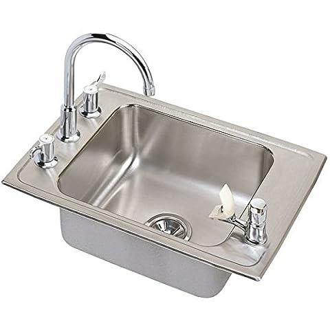 Elkay DRKAD222040C 18 Gauge Stainless Steel Single Bowl Top Mount Sink Kit, 22