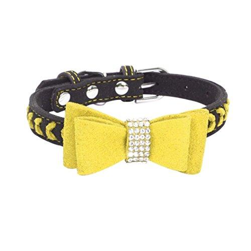 YFEEL Exquisite Adjustable Bowknot Diamond Dog Pet Supplies Polka Dot Cat Collars (S, Yellow) (Custom Designer Dog Collar Collars)