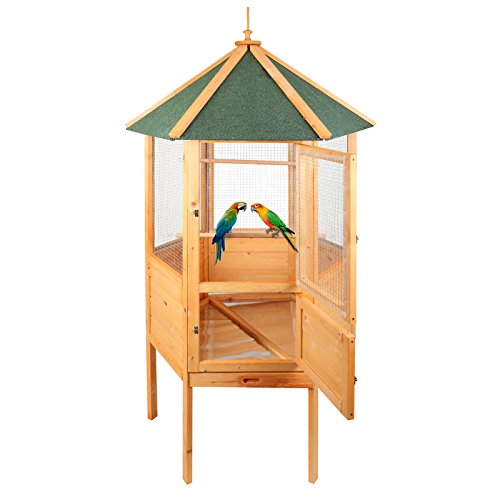 "Magshion 70"" Stunning Wooden Aviary Hexagonal House Bird Cage with Feed Door, Perch,Trays"