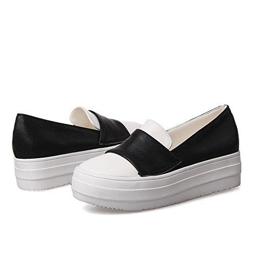 à chaussures noires à VogueZone009 matériau chaussures souple chaton ronds fermé bout femmes talons bouts et pour de fqZf8