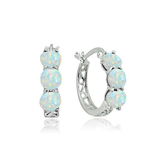 Sterling Silver Simulated White Opal Round Filigree Three Stone Hoop Earrings
